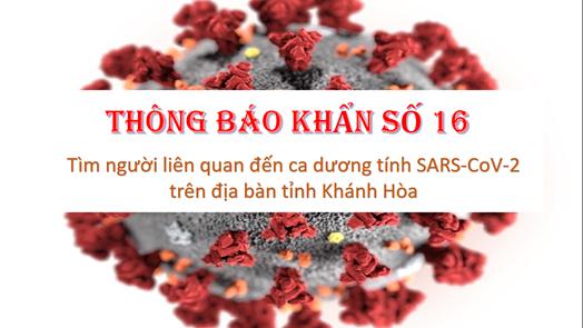 Sở Y tế tỉnh Khánh Hòa thông báo khẩn số 16