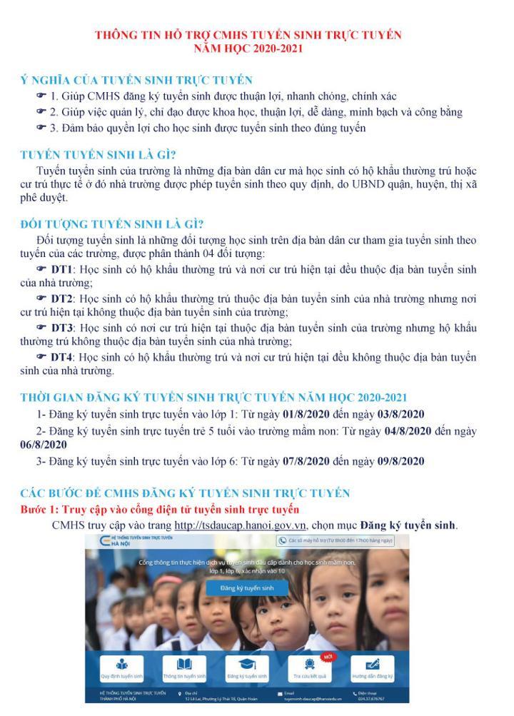 Hà Nội hướng dẫn đăng ký tuyển sinh trực tuyến