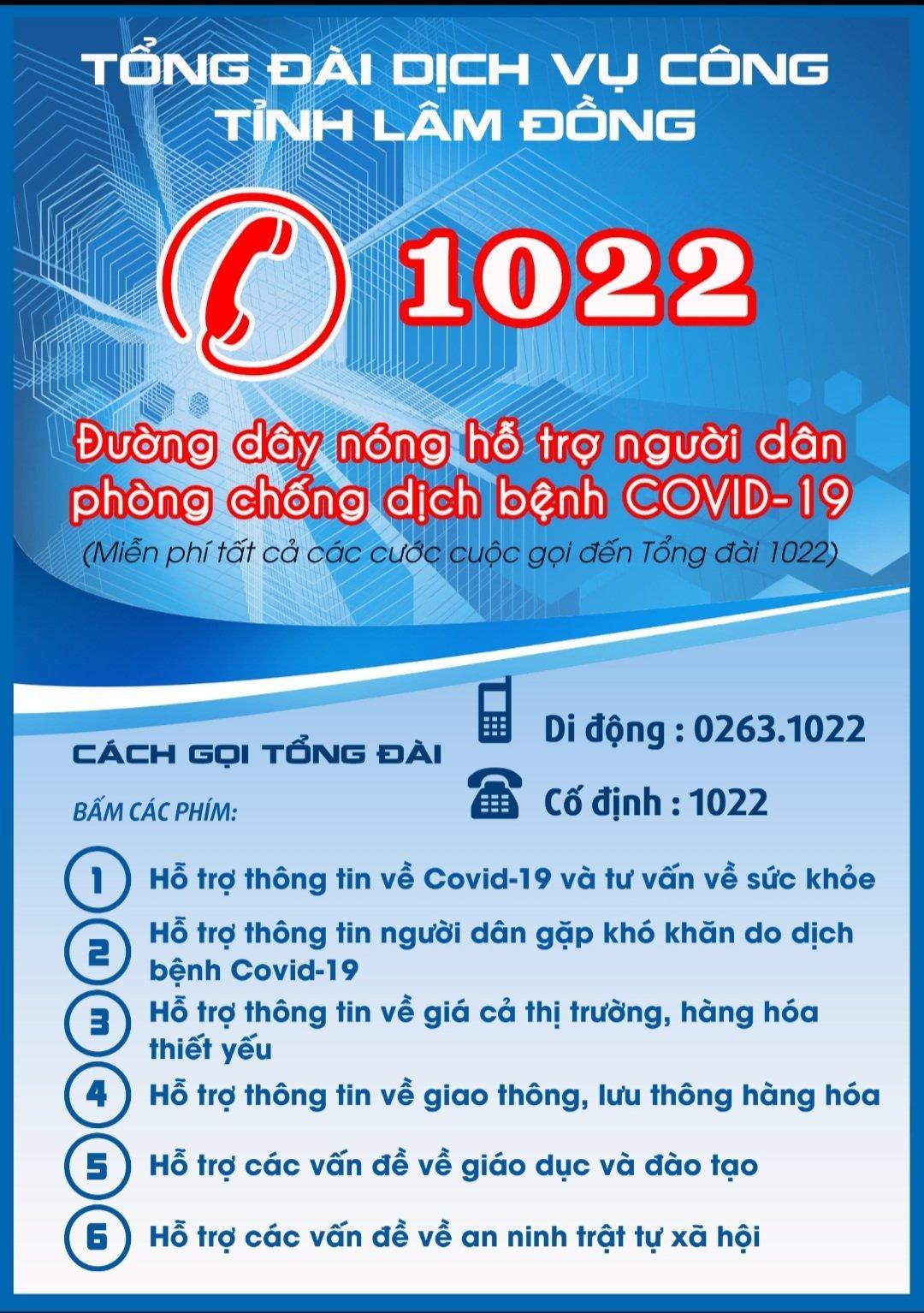Tổng đài đường dây nóng 1022 phục vụ cung cấp thông tin về phòng chống dịch Covid-19.